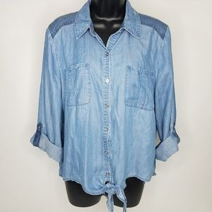 Chico's 2 tone denim Chambray Tie-Front Shirt